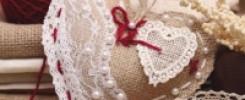 Объёмное сердце из мешковины и кружева. 10 фото