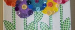 Цветы из пуговиц на картоне. 10 лучших идей  + фото