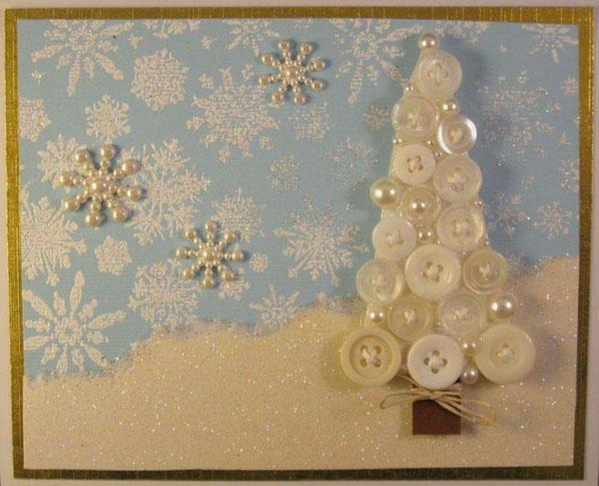 Новогодняя открытка из пуговиц