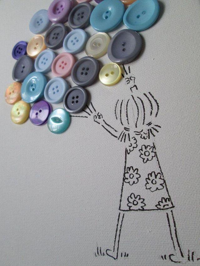 Рисунки пуговицами на ткани