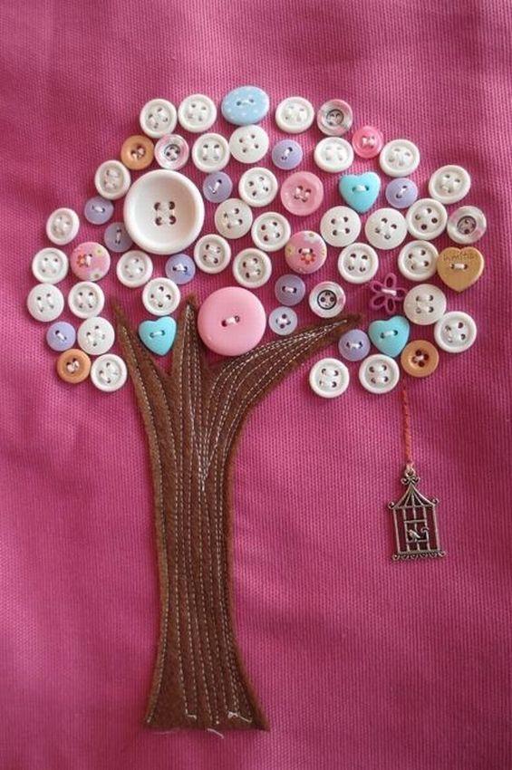 открытка дерево из пуговиц своими