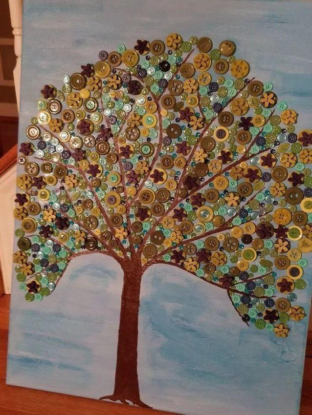 Дерево из пуговиц открытка, днем рождения мужчине