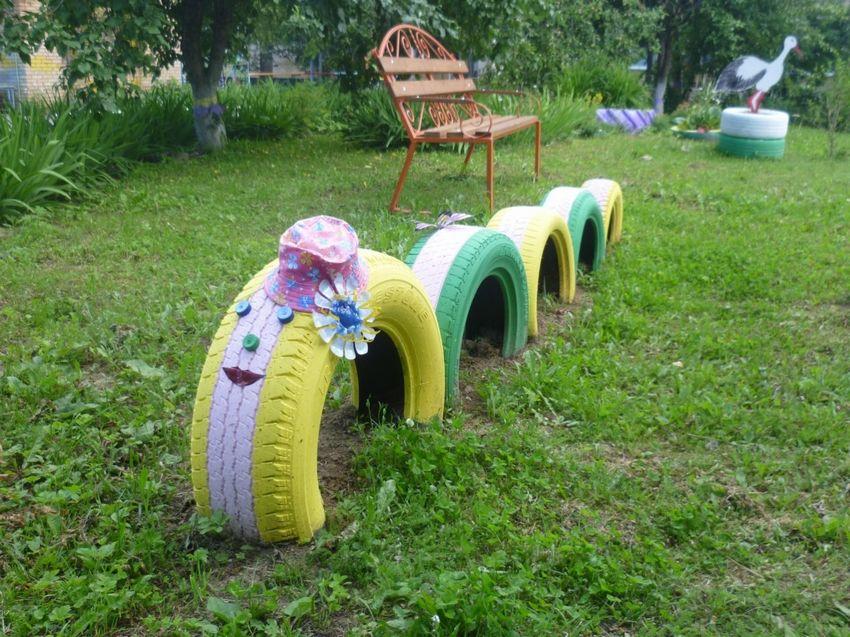 Детская площадка своими руками из шин картинки