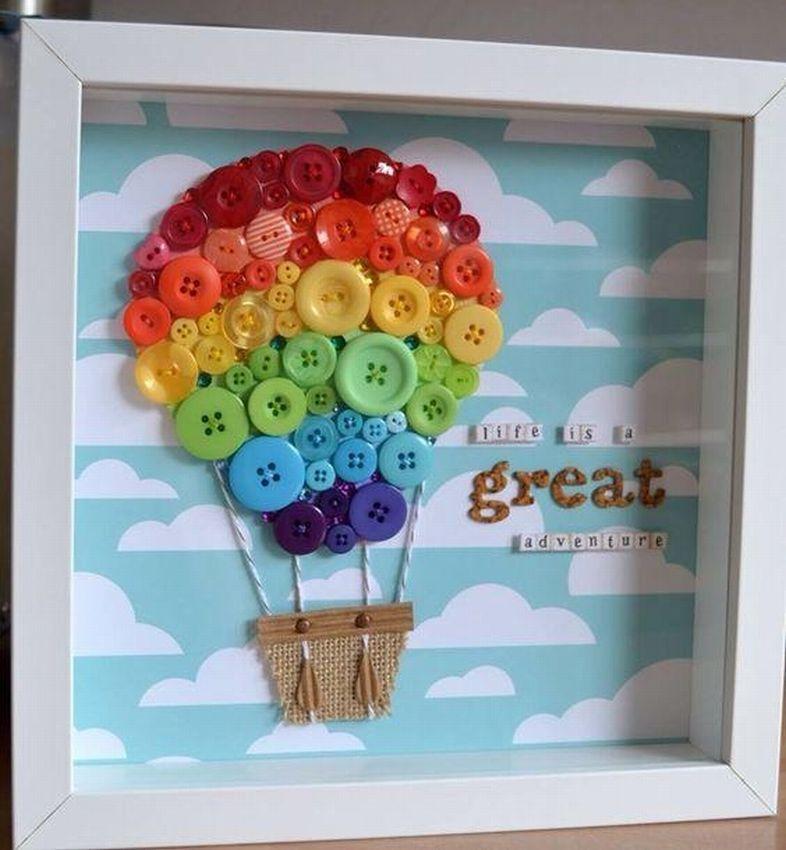 Скрап, открытка с воздушным шаром и пуговицами