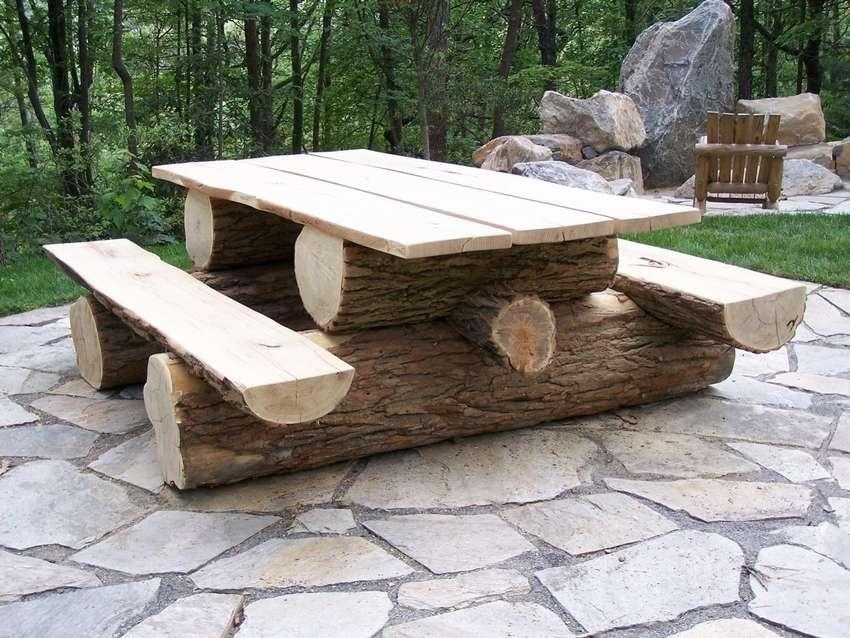 этой скамейки и столы из бревна фото когда дело дошло