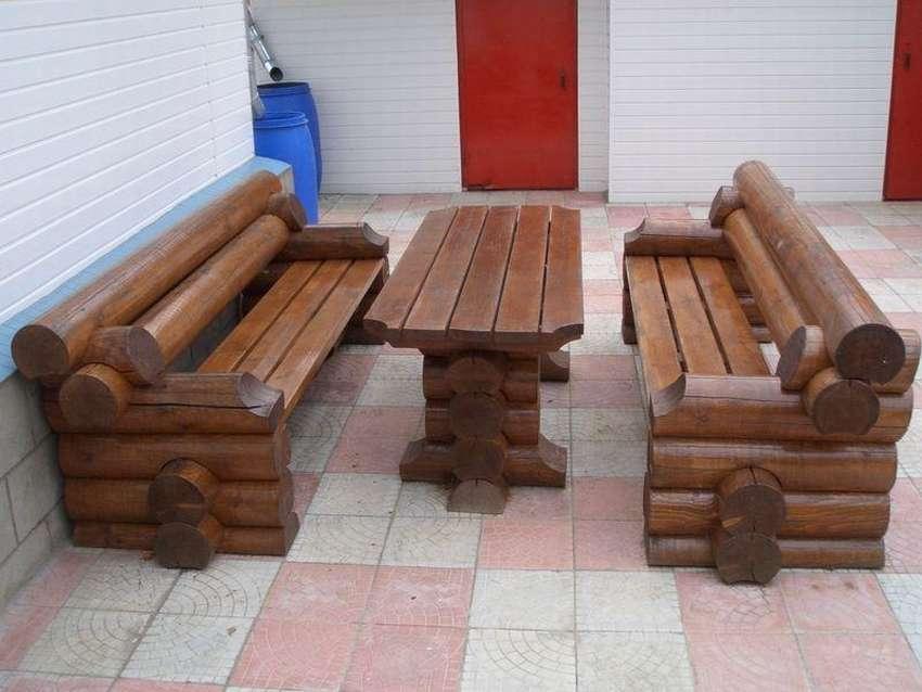 самые скамейки и столы из бревна фото исследования